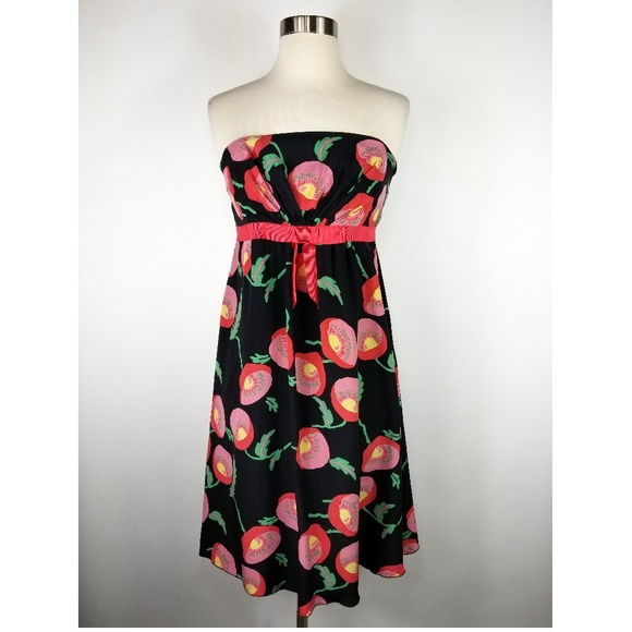 96dc87a0be0 Anna Sui Dresses   Skirts - Anna Sui Papaver Silk Poppies Strapless Dress